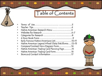Native American Research Menu for Gifted, Enrichment and Differentiation