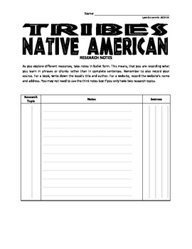 Native American Research Project or Informational Book