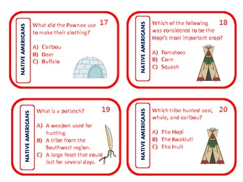 Native American Review Cards and File Folder Games