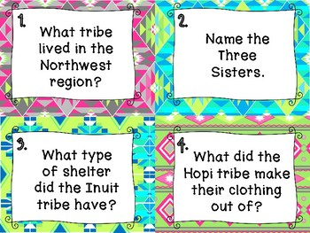 American Indian Review Task Cards - Set of 28 Hopi Inuit Pawnee Native American