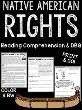 Native American Rights Reading Comprehension Worksheet, DB