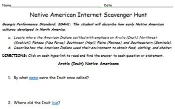 Native American Scavenger Hunt (4th Grade)