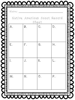 Native American Scoot Activity