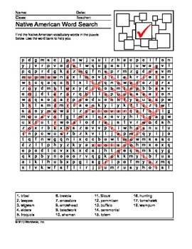 Native American Secret Code and Word Search Printables