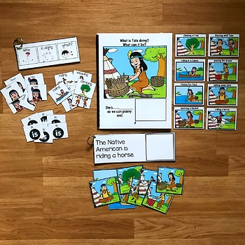 """Native American Sentence Builder Book: """"What Are the Native Americans Doing?"""""""