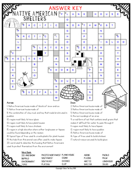 Native American Shelters Comprehension Crossword by Bow ...