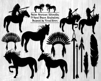 Native American Silhouettes Clip Art - 13 Hand Drawn Triba