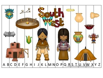 Native American South West Indians theme Alphabet Sequence Puzzle preschool game