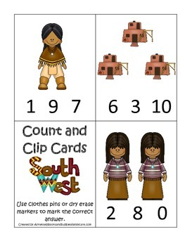 Native American South West Indians theme Count and Clip Cards preschool game