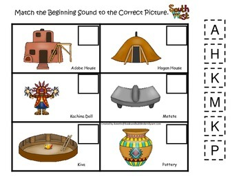 Native American South West Indians theme Match the Sounds preschool game