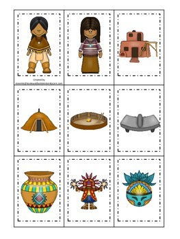 Native American South West Indians theme Memory Matching preschool game
