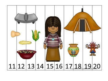 Native American South West Indians theme Number Puzzle 11-20 preschool game.