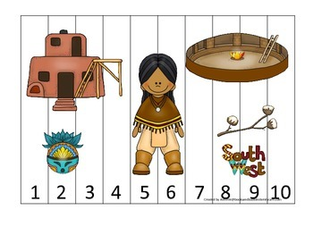 Native American South West Indians theme Number Sequence Puzzle preschool game