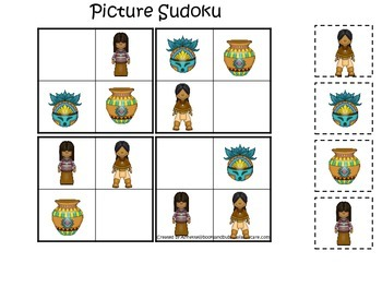 Native American South West Indians themed Picture Sudoku preschool activity.
