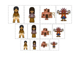 Native American South West Indians themed Size Sorting preschool game.