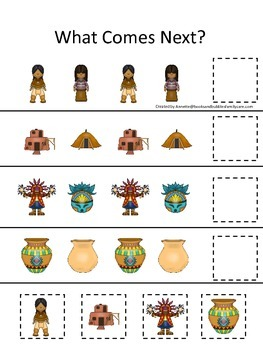 Native American South West Indians themed What Comes Next preschool game.