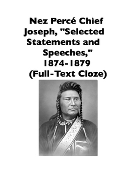 Native American Speeches: Chief Joseph, Selections, 1874-1