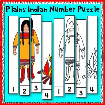Native American Studies: Plains Indian Number Puzzle for PK and K