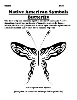 Native American Symbol The Butterfly Worksheet by Pointer Education