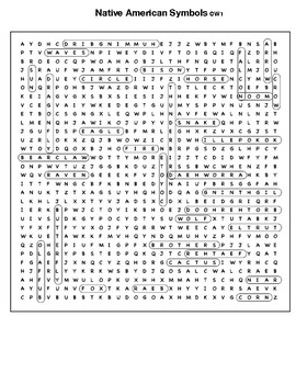 Native American Symbols Word search