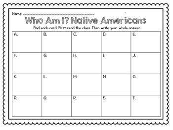 Native American Task Cards (Lakota, Powhatan, Pueblo) VA SOL 2.2