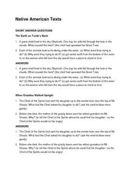 Native American Texts--short answer and multiple choice questions