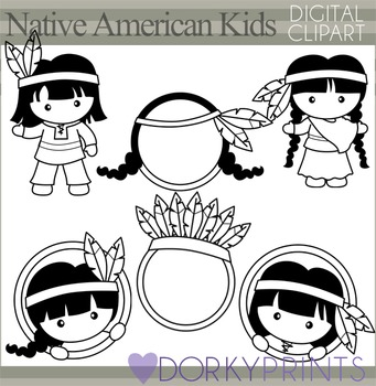 Native American Thanksgiving Blackline Clip Art