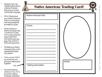 Native American Trading Cards! Research Activity for Gifted and Enrichment