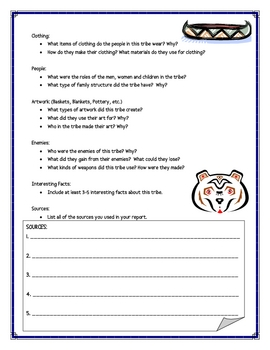 Native American Tribe Report Writing Sheets, 12 Pages Total!