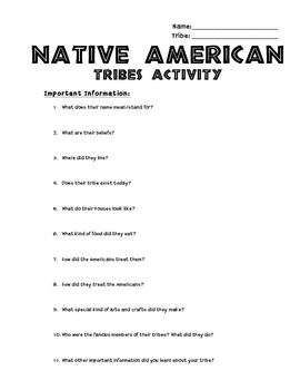 Native American Tribes Activity
