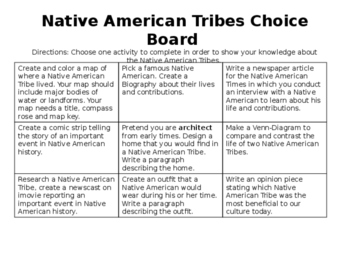 Native American Tribes Choice Board project