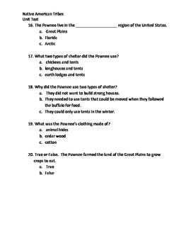 Native American Tribes Unit Test