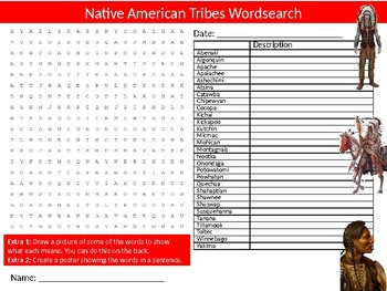 Native American Tribes Wordsearch Sheet  Activity Keywords History Indians
