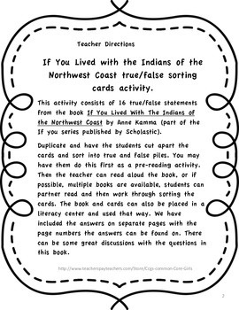 Reading Comprehension: Native American True/False Sorting Cards