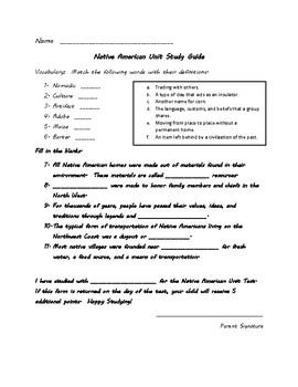 Native American Unit Study Guide