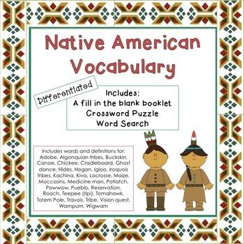 Native American Unit Vocabulary