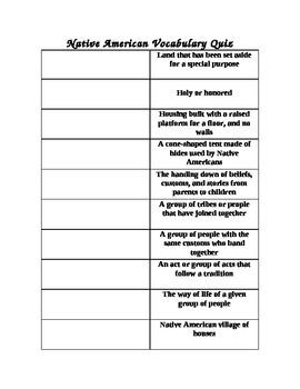 Native American Unit:  vocabulary quiz