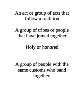 Native American Unit: vocabulary words match-up