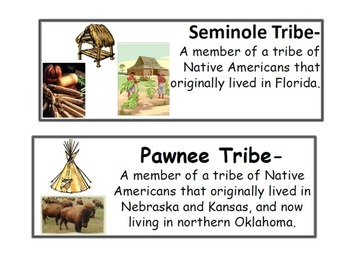 Native American Vocabulary Cards