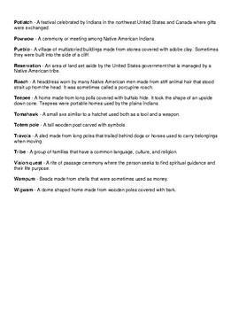 Native American Vocabulary List