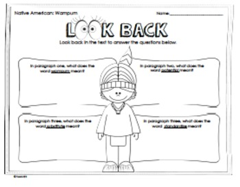 Native American Comprehension Passage Main Idea Vocabulary