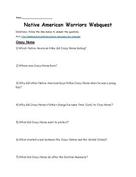 Native American Warriors Webquest (Sitting Bull, Geronimo, Chief Joseph)