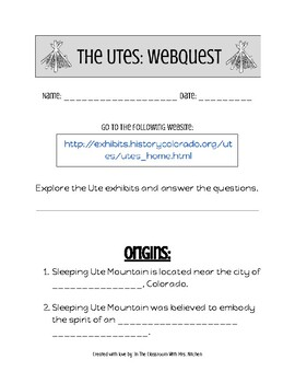 Native American Web Quest- The Utes