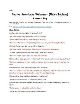 Native American Webquest (Plains Indians)