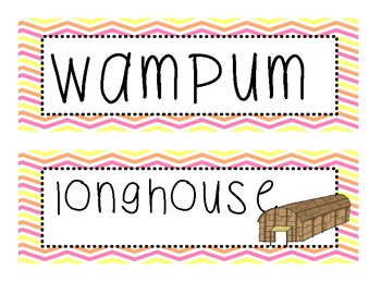 Native American Word Wall Vocabulary Cards