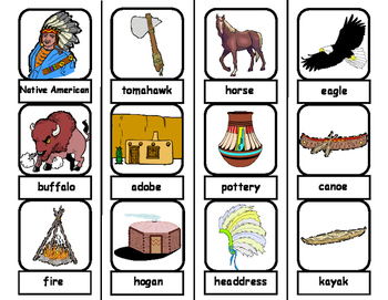 Native American Words Flashcards and File Folders for Autism