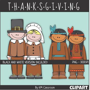 Native American And Pilgrim Girls Boys ClipArt Thanksgiving