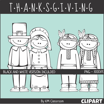 Native American and Pilgrim Girls and Boys ClipArt Thanksgiving