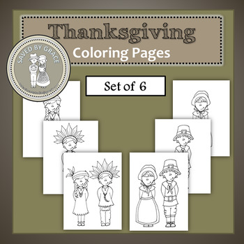 Native American and Pilgrim Thanskgiving Printable Coloring Sheets