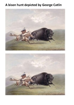 Native American plains bison hunting Handout